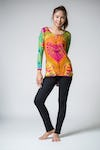 Sure Design Womens Tie Dye Cotton Long Sleeve Shirts Orange