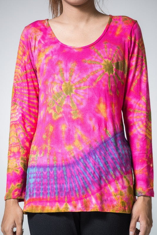 Sure Design Womens Tie Dye Cotton Long Sleeve Shirts Pink