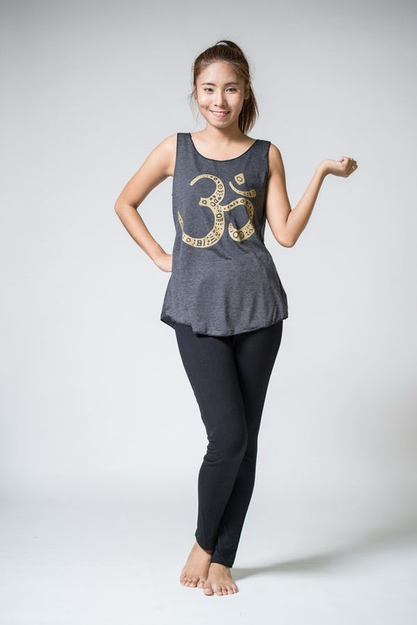 Super Soft Womens Om Tank Top Gold on Black