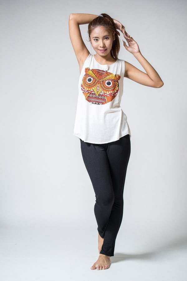 Super Soft Womens Trippy Owl Tank Top White
