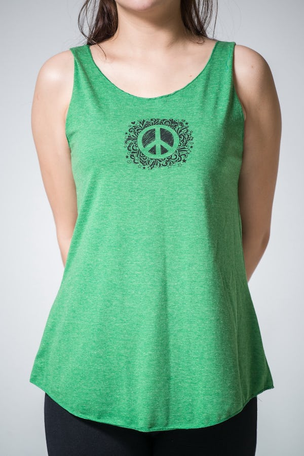 Super Soft Sure Design Women's Tank Tops Peace Sign Green
