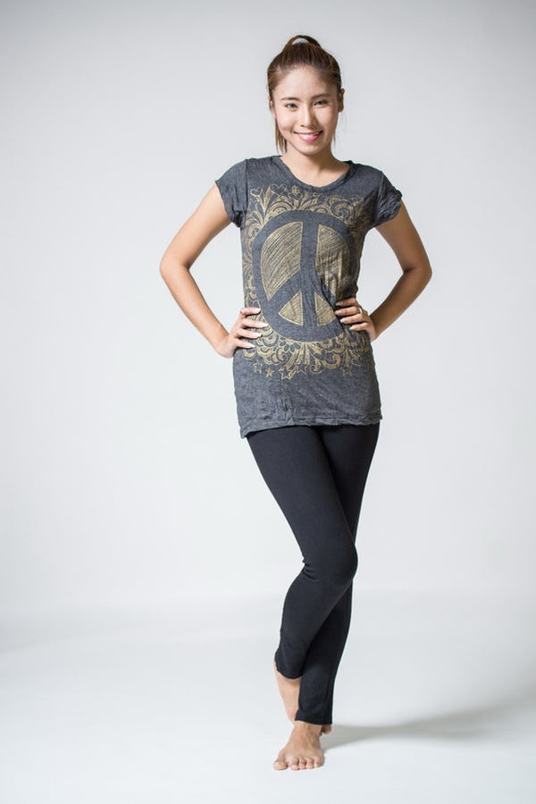 Sure Design Womens Peace Sign Infi T-Shirt Gold on Black