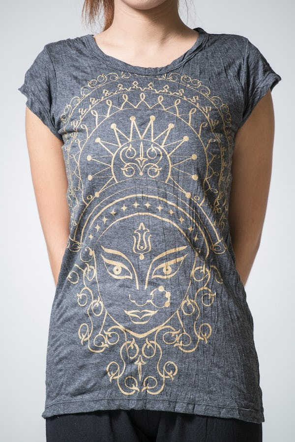 Sure Design Womens Durga T-Shirt Gold on Black