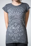 Sure Design Womens Durga T-Shirt Silver on Black