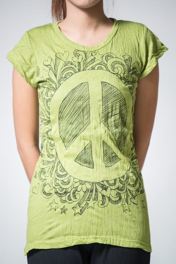 Sure Design Womens Peace Sign T-Shirt Lime