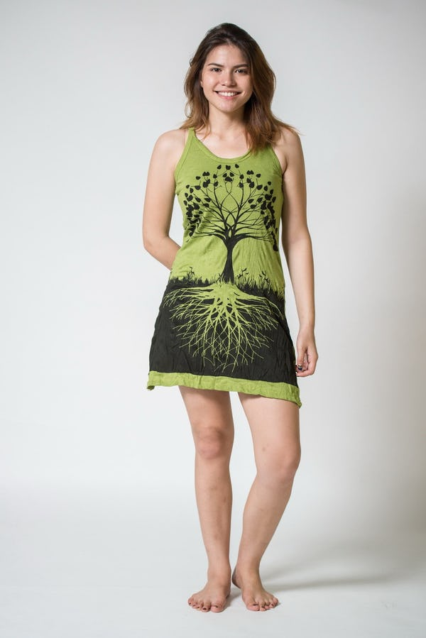 Sure Design Womens Tree Of Life Tank Dress Lime