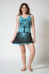 Womens Tree of Life Tank Dress in Turquoise
