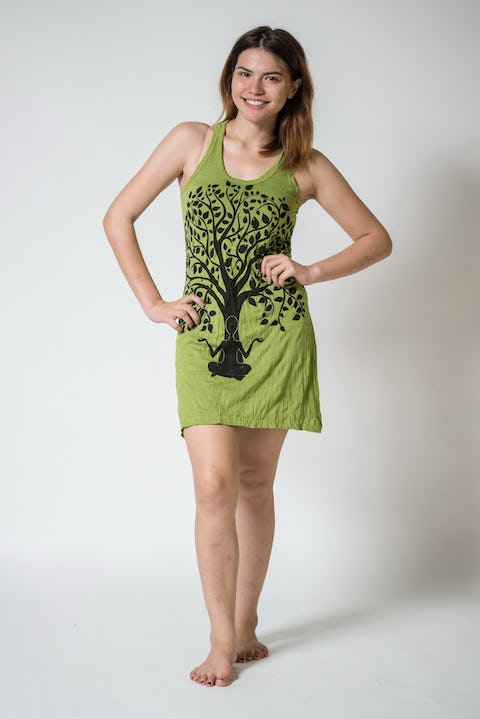 Sure Design Womens Meditation Tree Tank Dress Lime