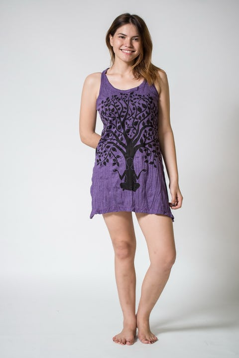 Sure Design Womens Meditation Tree Tank Dress Purple