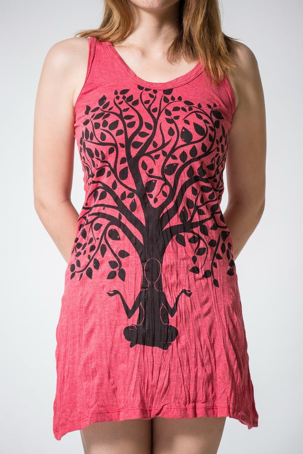 Sure Design Womens Meditation Tree Tank Dress Red