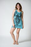 Womens Three Hands Tank Dress in Turquoise