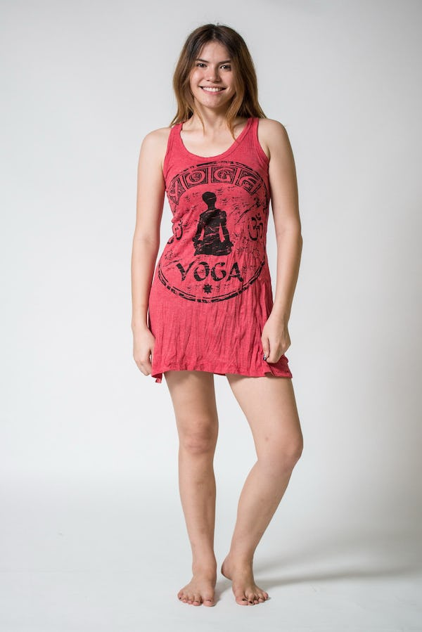 Sure Design Womens Infinitee Yoga Stamp Tank Dress Red