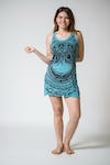 Womens Weed Owl Tank Dress in Turquoise