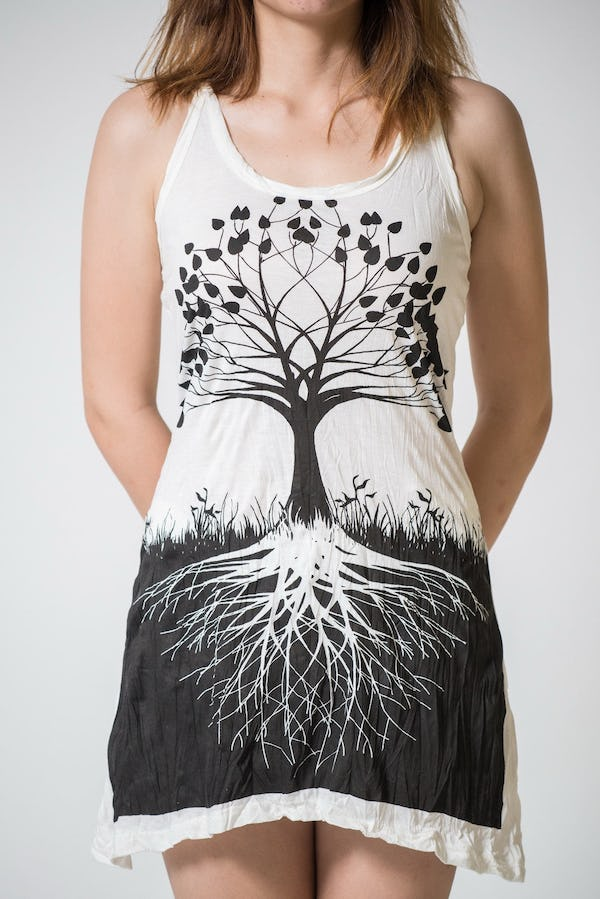Sure Design Womens Tree Of Life Tank Dress White
