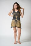 Womens Tree of Life Tank Dress in Gold on Black