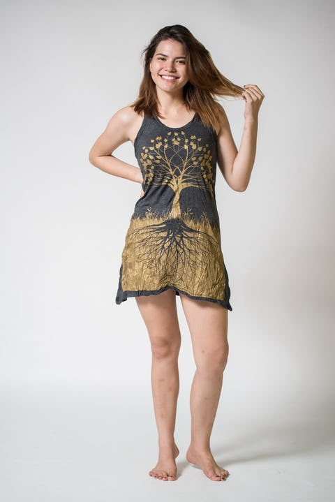 Sure Design Womens Tree Of Life Tank Dress Gold on Black