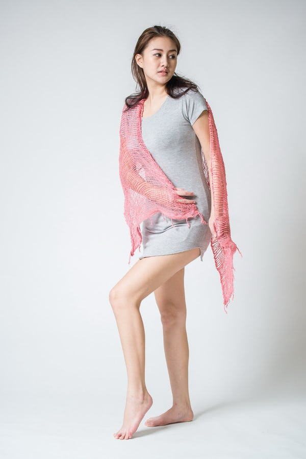 Fair Trade Hand Made Organic Cotton Scarf Pink