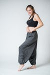 Drawstring Low Cut Harem Pants Cotton Spandex Printed Spiral Gray