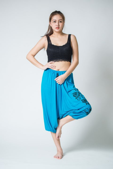 Drawstring Low Cut Harem Pants Cotton Spandex Printed 3 Lotus Blue