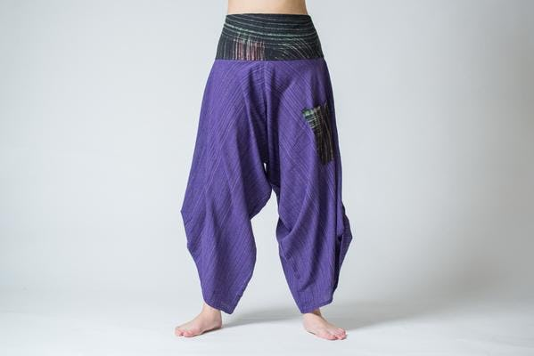 Pinstripe Button Up Cotton Pants with Hill Tribe Trim Violet