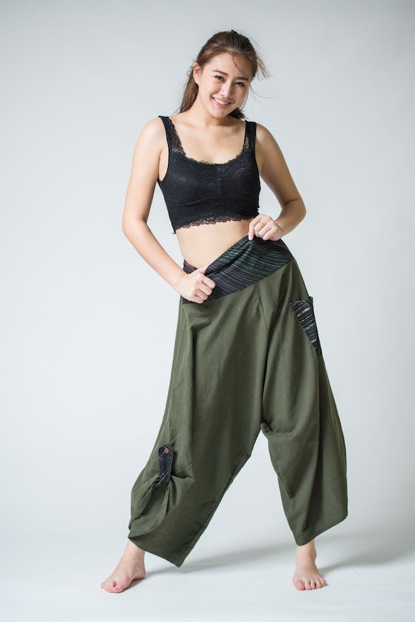 Thai Button Up Cotton Pants with Hill Tribe Trim Olive