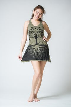 Womens Tree of Life Long Tank Dress in Black