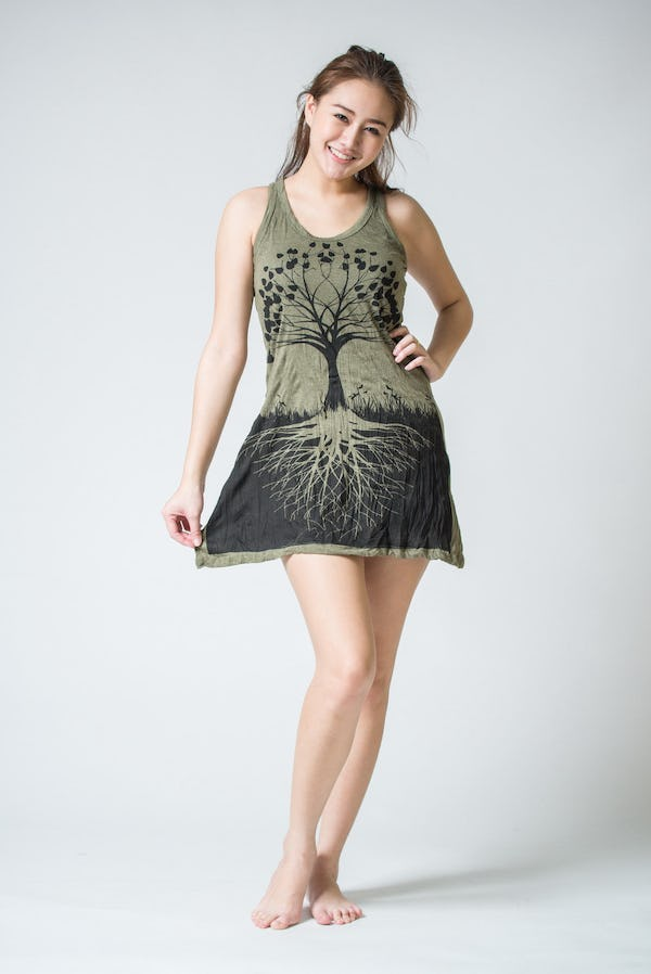 Sure Design Womens Tree Of Life Tank Dress Green