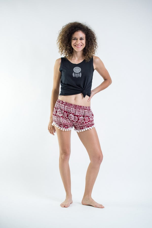 Sure Design Tribal Prints Super Light Pom Pom Shorts Red/White