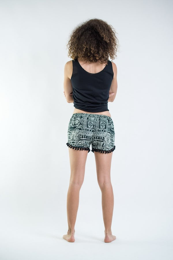 Sure Design Tribal Prints Super Light Pom Pom Shorts Green/Black