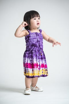 Girls Children's Tie Dye Cotton Dress With Beads Pink