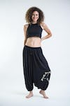 Drawstring Low Cut Harem Pants Cotton Spandex Printed Dragonflies Black