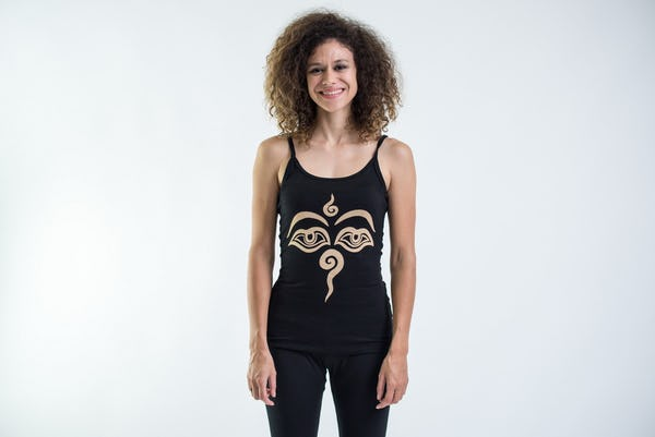 Cotton Spandex Super Soft Women's Tank Top Buddha Eyes Black