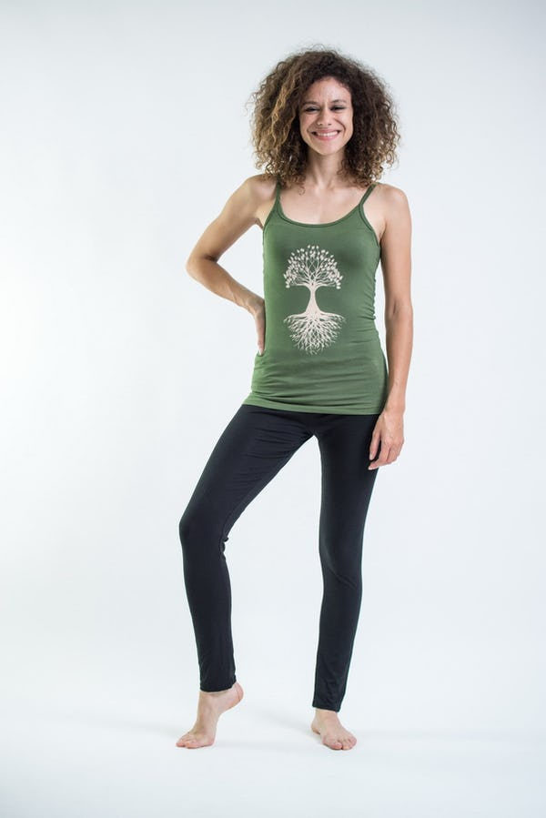 Cotton Spandex Super Soft Women's Tank Top Tree Of Life  Green