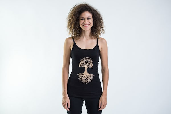 Cotton Spandex Super Soft Women's Tank Top Tree Of Life Black