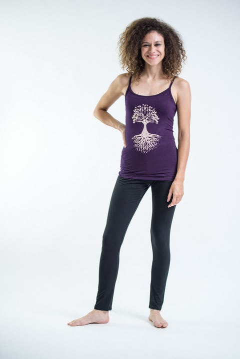 Cotton Spandex Super Soft Women's Tank Top Tree Of Life  Purple