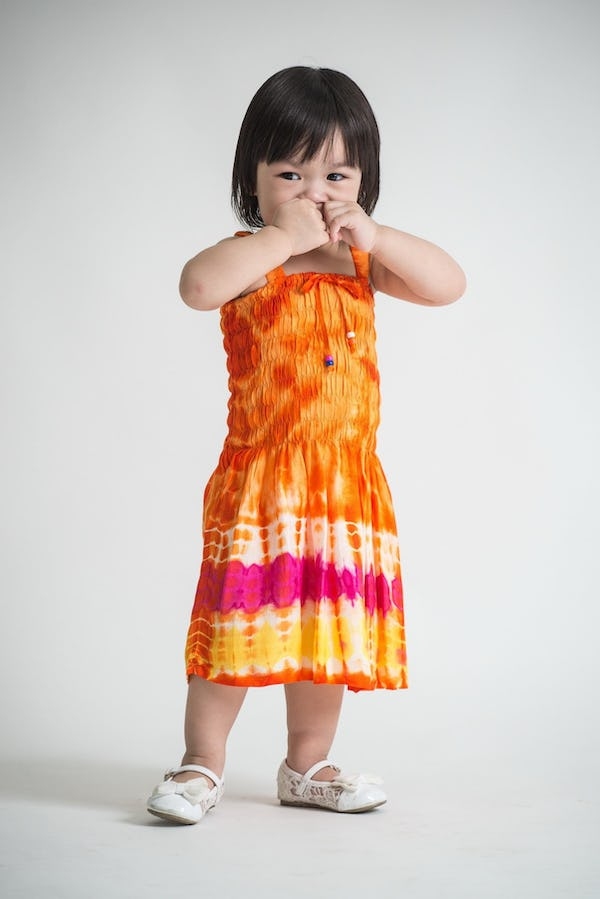 Girls Children's Tie Dye Cotton Dress With Beads Orange