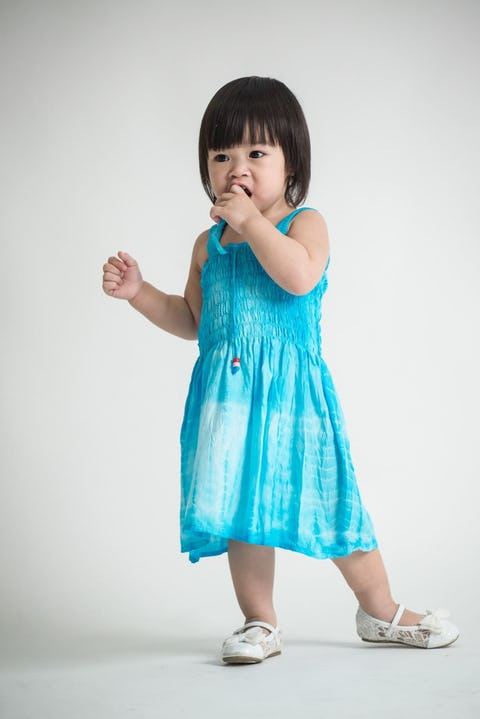 Girls Children's Tie Dye Cotton Dress With Beads Blue