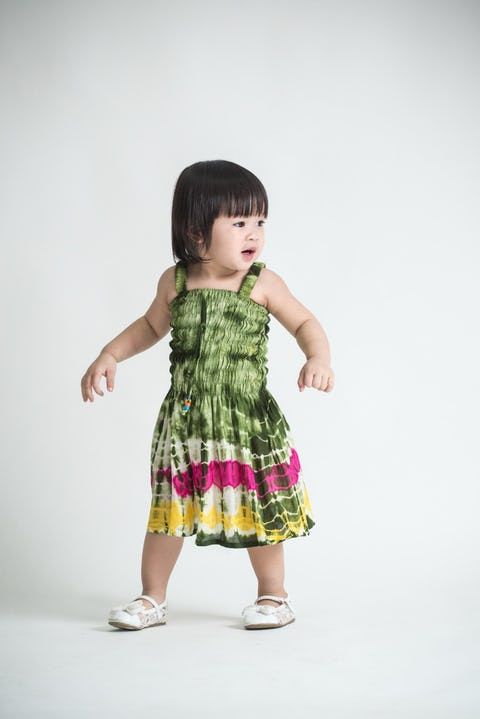 Girls Children's Tie Dye Cotton Dress With Beads Dark Green