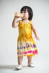 Girls Children's Tie Dye Cotton Dress With Beads Yellow