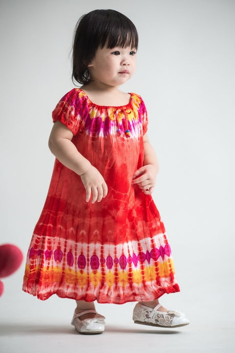 Girls Children's Tie Dye Cotton Dress With Sleeves Beads Red