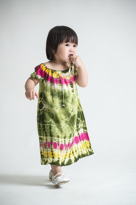Girls Children's Tie Dye Cotton Dress With Sleeves Beads Green