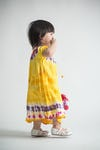 Girls Children's Tie Dye Cotton Dress With Sleeves Beads Yellow