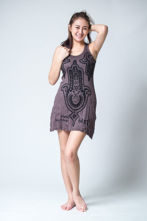 Sure Design Womens Three Hands Tank Dress Brown