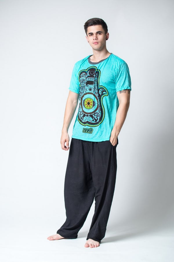 Sure Design Mens Hamsa Eye Power T-Shirt Turquoise