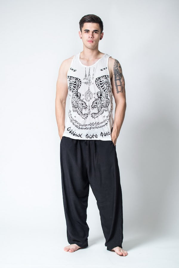 Sure Design Mens Thai Tattoo Tank Top White