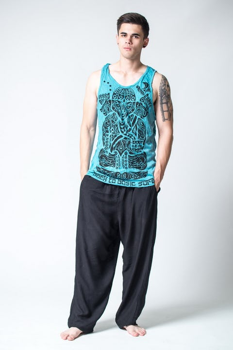Sure Design Mens Tattoo Ganesh Tank Top Turquoise