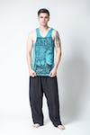 Sure Design Mens Buddha Sanskrit Tank Top Turquoise