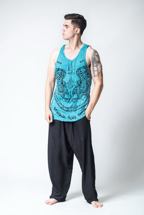 Sure Design Mens Thai Tattoo Tank Top Turquoise