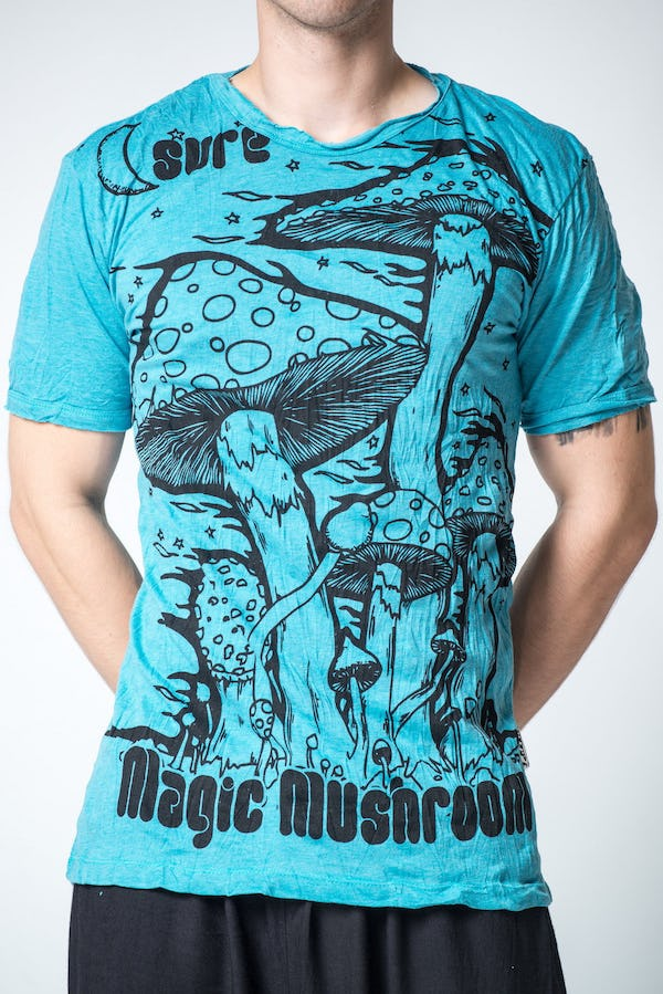 Sure Design Mens Mushroom T-Shirt Turquoise