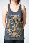 Sure Design Womens Infinitee Ohm Tank Top Gold on Black
